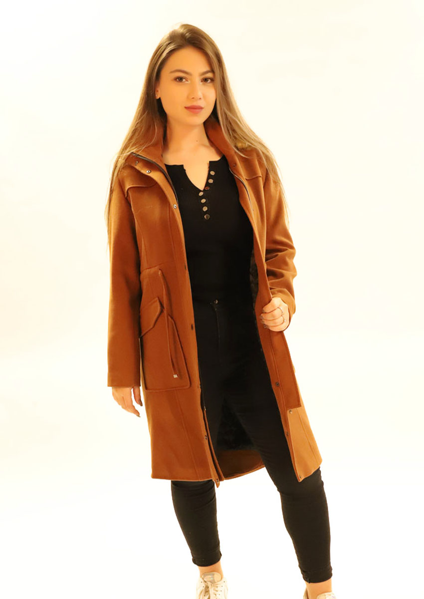 Manteau mi-long simple - marron