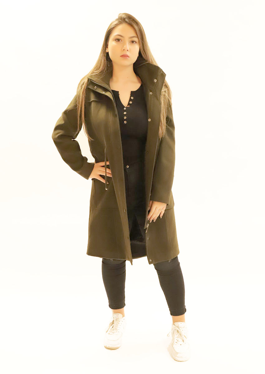 Manteau mi-long simple - kaki